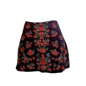 Zara Floral Embroidered Skater Mini Skirt